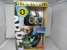 US Divers Adult GoPro Ready Silicone Snorkeling Set, LXL BLACK/ AQUA BLUE