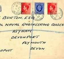 DD161 1937 GB KEVIII MIXED REIGNS FRANKING *Keyham Devonport* {samwells-covers}