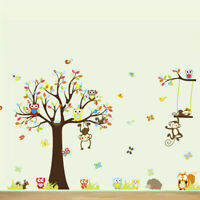 Safari Jungle Animal Kids Wall Stickers Tree Giraffe Elephant Monkey