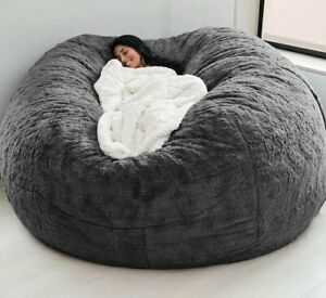 New Foam 7ft Giant Fur Bean Bag Memory Living Room Chair Lazy Sofa Cover