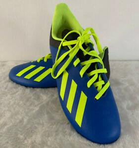 Adidas X 18.4 FG Boys Youth Soccer Cleats Size 4 Blue Neon Green Black