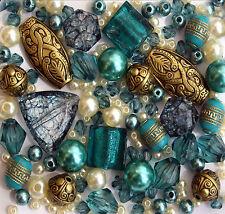 x 150 Turquoise Gold Jewellery Making Glass Acrylic Beads Mix