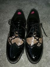 Tkmax Shoes Size 5 Black Patent Leather With Snake Print, Dimante detailing