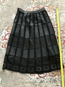 Woman's Huaderis Leather Skirt Size M Black