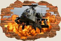 3D Hole in Wall Army Helicopter View Wall Sticker Mural Film Decal Wallpaper S60