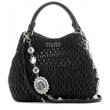 $2.2K Miu Miu Jewelled Matelass Black Tote Shoulder / Hand Bag New Without Tag