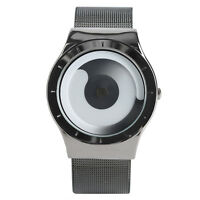 Casual Black/Silver Stainless Steel Band Women Men Quartz Wrist Watch Gift