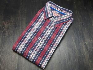 Thomas PINK Cotton blue red white plaid casual shirt Medium M