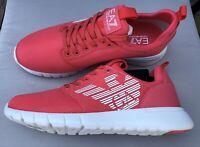 EMPORIO ARMANI EA7 Pink Trainers Sneakers Runners Logo Design Size UK 9.5 BNIB