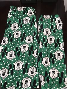 New Lularoe Disney OS and Kids L/XL Green White Dots Minnie Mouse Mommy and Me
