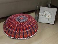 "Indian Mandala Floor Pillow 32"" Meditation Round Cushion Cover Ottoman Pouf Sham"