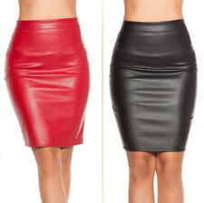 Gonna tubino sexy ecopelle pencil skirt  minigonna donna zip cerniera nuova