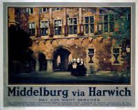 Poster Lner, Middelburg Via Harwich 1928 OLD PHOTO