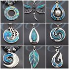 Woman Man Necklace Marine Opal Pendant NZ Paua Shell Leather Silver Chain JN164