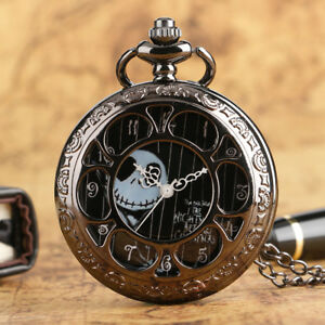 Black Jack Skellington The Nightmare Before Christmas Quartz Pocket Watch Chain