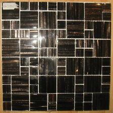 1x Glas Mosaikfliese - Schwarz - Braun - Restposten