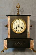 antique French gold medal 1900 Black marble/slate  mantle/shelf clock-