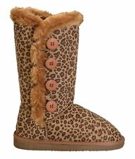 NEW Women's Classic Round Toe Boots w/ Side Buttons Faux Fur Trim Size 5 to 10