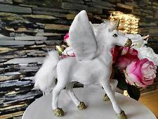 Einhorn Unicorn Figur Plüsch Gold Weiß Deko Dekoration Dekofigur Pferd Horn Fell