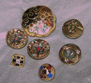 Antique Buttons Cut Steel Pretty 7 Painted French Enamels