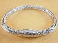 "New 925 Sterling Silver Foxtail Franco Wheat Bracelet Bali Tulang Naga 8"" 40g"