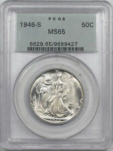 1946-S WALKING LIBERTY HALF DOLLAR-PCGS MS-65, 66 QUALITY, OGH, PREMIUM QUALITY!