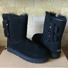 UGG Bailey Fluff Buckle Black Suede Sheepskin Short Boots Size US 11 Womens