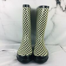 Women Rain Snow Boots Houndstooth Rubber Size 8