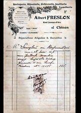 """CHINON (37) HORLOGERIE BIJOUTERIE ORFEVRERIE JOAILLERIE """"Albert FRESLON"""" en 1907"""
