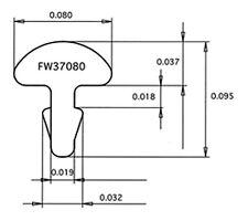 "6 feet (one-foot lengths) Jescar Stainless Steel fret wire FW37080-S .037""X.080"""