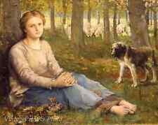 The Shepherdess and Her Flock by John Macallan Art Swan Girl Dog 8x10 Print 0743
