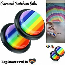 Dilataciones falsas Rainbow rosca ,Tunnel fake ear, plug 8mm