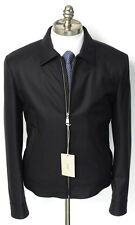 New BRIONI Italy Solid Black Wool Leather Trim Blouson Jacket Coat 48 S NWT $4K!