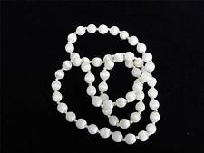 """WHITE SILK COVERED BEADS 30"""" NECKLACE, VINTAGE"""