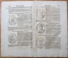MÜNSTER/MUNSTER: Cosmographia Emporer France Woodcuts  2 Leaves (7) - 1628