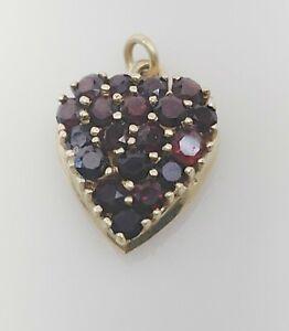 Vintage  Art Deco Bohemian Garnet 14 ct Gold  Small Heart Pendant