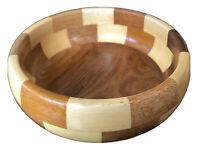 "Retro Vintage MCM ""Cambridge Ware"" Chequered Wooden Serving Fruit Bowl ~ England"