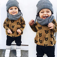 2PCS Toddler Kids Baby Boy Girl Bear Tops T-shirt+Long Pants Clothes Outfits Set