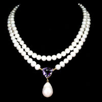 Unheated Trilliant Amethyst 15mm Pearl 925 Sterling Silver Necklace 18 Inches