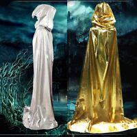 New Adult Hoody Long Cloak Cape Robe Priest Witch Wicca Long Fancy Dress Costume