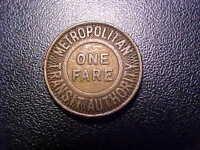 METROPOLITAN TRANSIT AUTHORITY ONE FARE TOKEN!  -  DD28XX