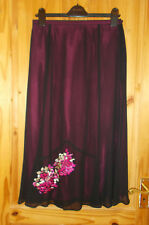 JACQUES VERT black chiffon raspberry pink floral embroidered skirt 12 40 BNWT