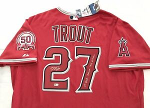ANGELS MICHAEL NELSON TROUT MIKE TROUT signed INSCRIBED JERSEY MLB AUTHENTICATED