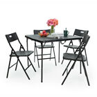 5 Pcs Folding Table And Chair Set Patio Furniture Set For Outdoor Garden Porch