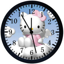 Hello Kitty Black Frame Wall Clock Nice For Decor or Gifts W173