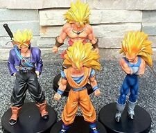 "Dragon Ball Z Super Saiyan 5"" Action Figures 4 pc Set: Goku Broly Vegeta Trunks"