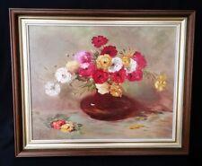 Oil Painting – Flowers In Vase – Still Life – By E Austin 1985