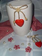 Blumenvase Landhaus Weiß Herz Rot Liebe Keramik Top-Qualität Schleife Natur 18cm