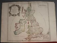 UNITED KINGDOM & IRELAND (ANCIENT BRITISH ISLES) 1750 VAUGONDY ANTIQUE MAP