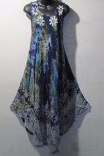 Dress Fits 1X 2X 3X 4X Plus Sundress Blue Green Batik A Shaped NWT 7806 C-5